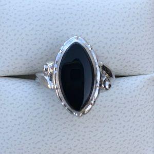 Vintage 1940's German Sterling Onyx Uncas Ring
